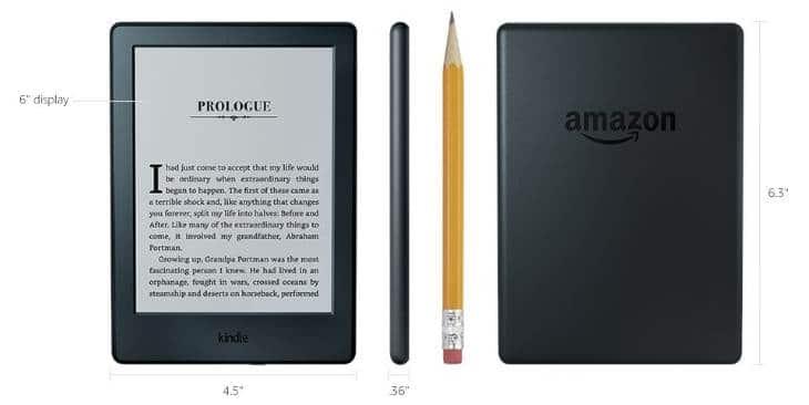 внешний вид и размеры Kindle от Amazon