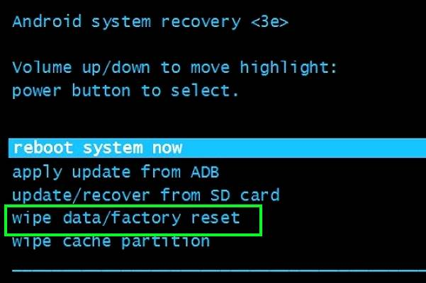 меню Android Recovery