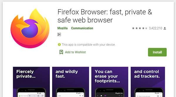 браузер Firefox на сайте Google Play